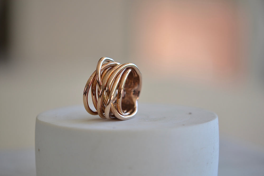 Load image into Gallery viewer, Monica Castiglioni Fili Fusi 02B Ring 8 strand loop Bronze