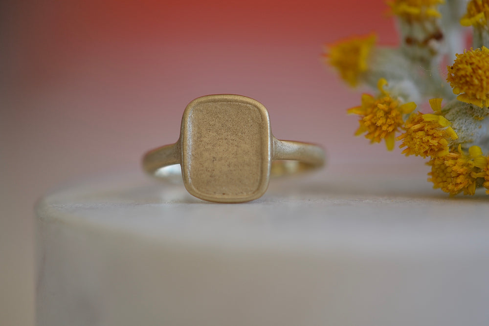 Load image into Gallery viewer, Makiko Wakita Blank Motto Signet Ring 14k yellow gold satin finish