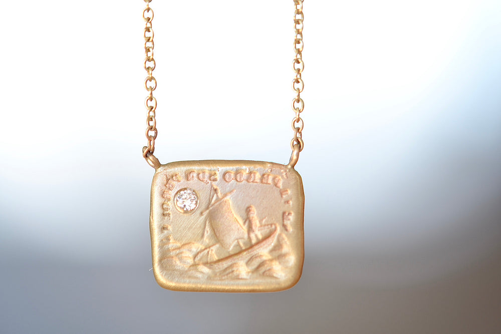 "Load image into Gallery viewer, Makiko Wakita Motto Cupid's Ship North Star Pendant Necklace 14k yellow gold 16"" chain oval ship sea diamond"