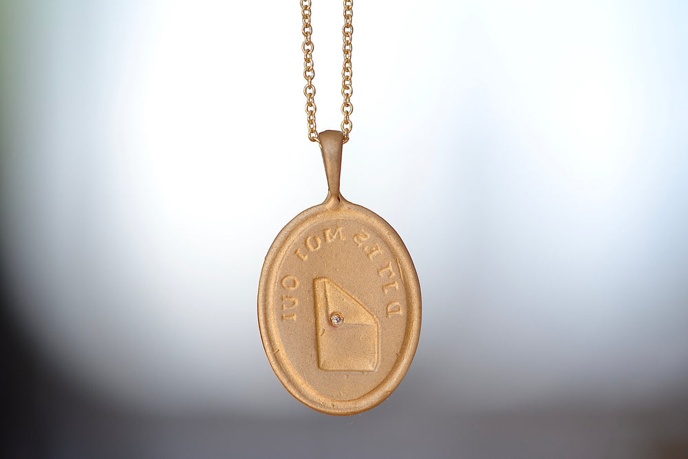 "Makiko Wakita Motto Love Letter Pendant Necklce Dites Mois Oui Say Yes  Necklace with loop 14k yellow gold 16"" chain diamond"