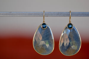 Margaret Solow Sapphire and London Blue Topaz Earrings with blue, grey and brown two toned sapphires and deep blue faced 14k yellow gold bezel and earl wire