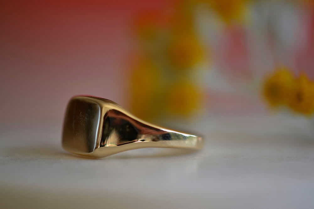 Horizontal Mirror Signet Ring