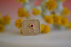 Makiko Wakita Motto Stud Earring Thy Sweetness rose bee drinking nectar 14k yellow satin finish gold rectangular ruby