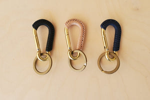 Braided Leather  and Brass Carabiner Keychain