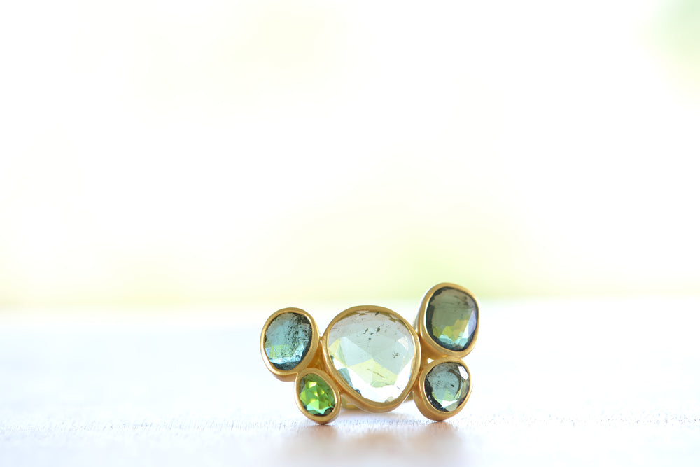 Pippa Small Meteor Cluster Ring Green Tourmaline 18k Yellow Gold