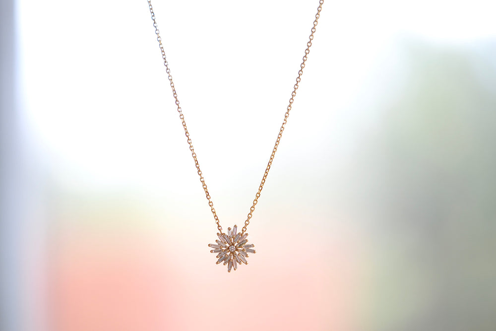 Load image into Gallery viewer, Suzanne Kalan Champagne Baguette White Diamond Mini Star Pendant Necklace 18k Yellow Gold