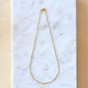 "OK Large Paperclip Chain Clasp Closure 18k yellow gold 18"" Made in Los Angeles"