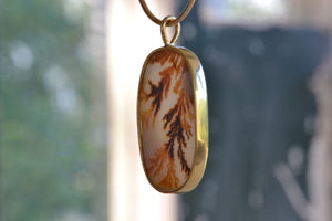 Load image into Gallery viewer, OK Oval Dendritic Agate Pendant 18k yellow gold bezel