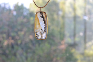 Load image into Gallery viewer, OK Rectangular Dendritic Agate Pendant 18k yellow gold bezel