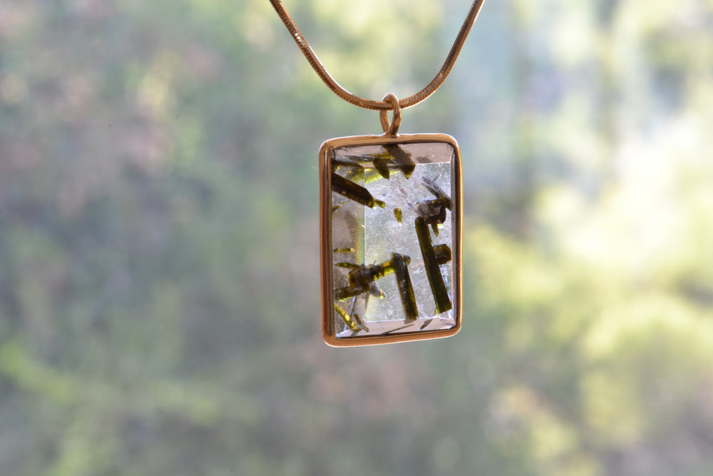 Load image into Gallery viewer, OK Rectangular Quartz with Green Tourmaline 18k yellow gold bezel