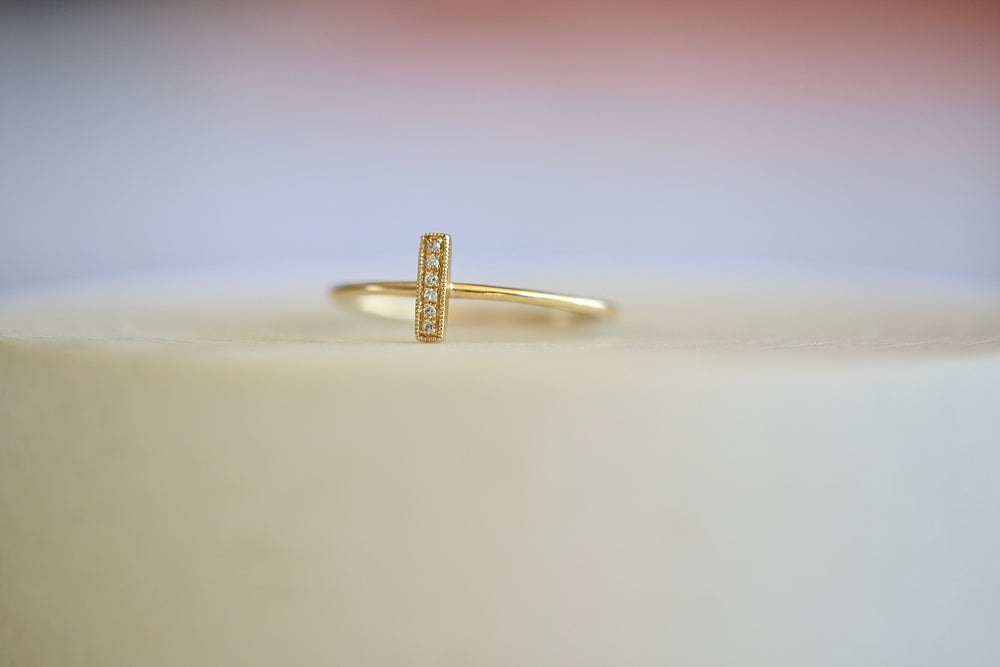 OK Vertical Pave Pavé Bar Ring Six 6 Diamonds 1 mm shank 14k yellow gold