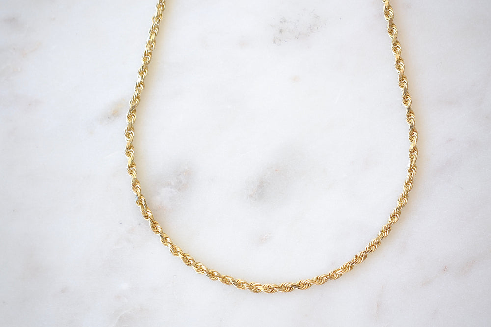 "OK Chain Bar Rope Chains 14k gold 18"" rope chain in 3mm wide Handmade in Los Angeles"