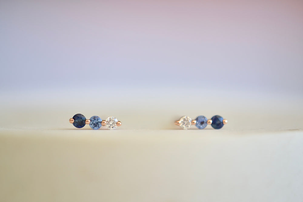 Ombre Diamond Blue Navy Sapphire Trio Studs 14k Rose Gold White Diamond two prong setting