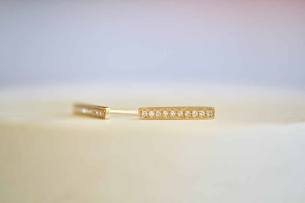 Extra Long Bar Pave Pavé Studs 14k Yellow Gold 10 Ten white diamonds