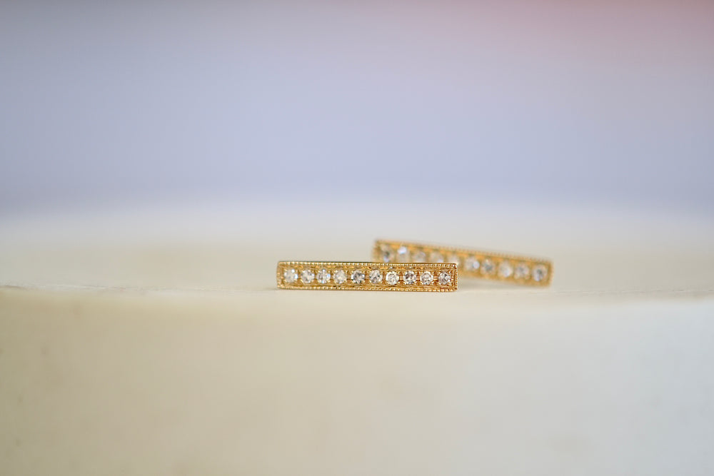 Extra Long Bar Pave Pavé Studs 14k Yellow Gold 10 Ten white diamonds OK