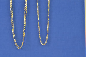 "OK Chain Bar Figaro Chains 4mm wide 3mm 14k gold 20"" or 18"""
