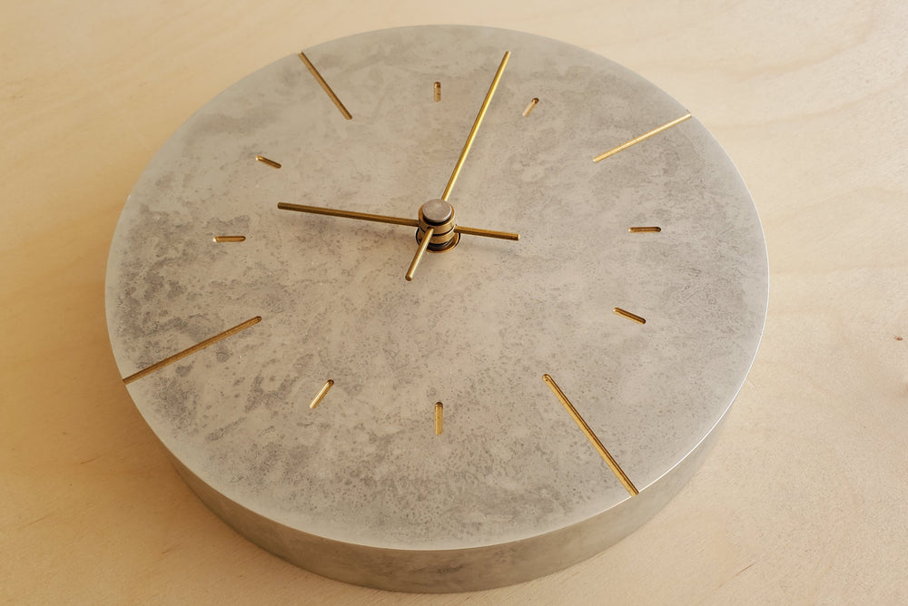 "Japanese Cast Brass Clock ""Orb"" Silver Finish"