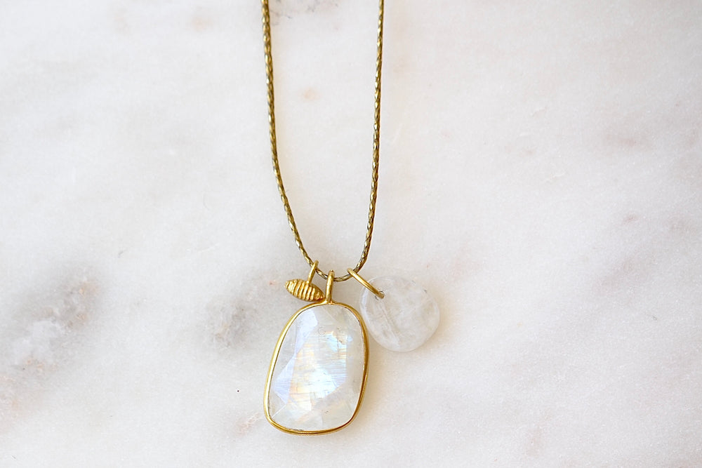 Pippa Small Moonstone Colette and drill Pendant Two Stone Necklace 18k yellow gold bezel on thread