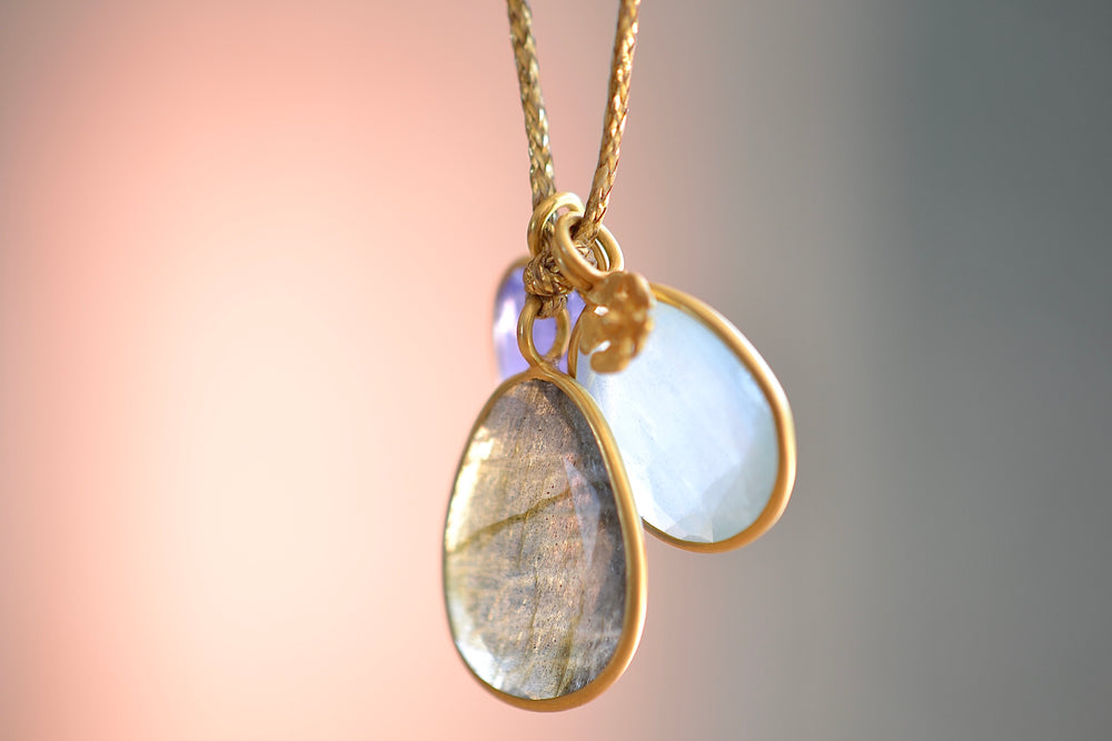 Pippa Small Colette Pendant Tripple Stone Necklace Labradorite Cloudy Aquamarine Tanzanite 18k Gold bead cotton thread