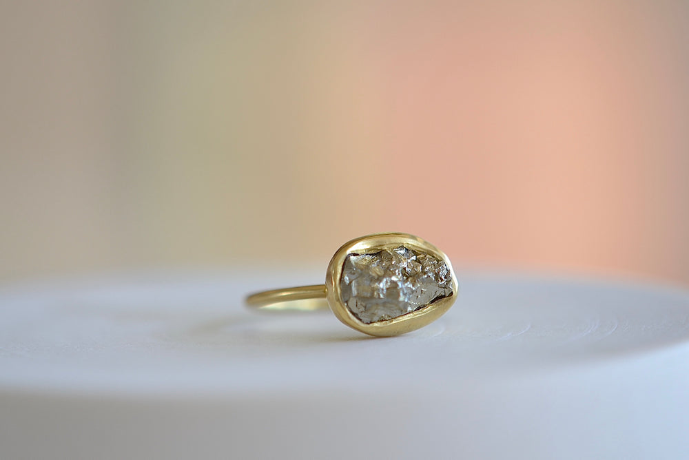 Pippa Small Pyrite Dazzle Cup Ring thin band organic one of a kind 18k yellow gold part faceted grey raw jagged