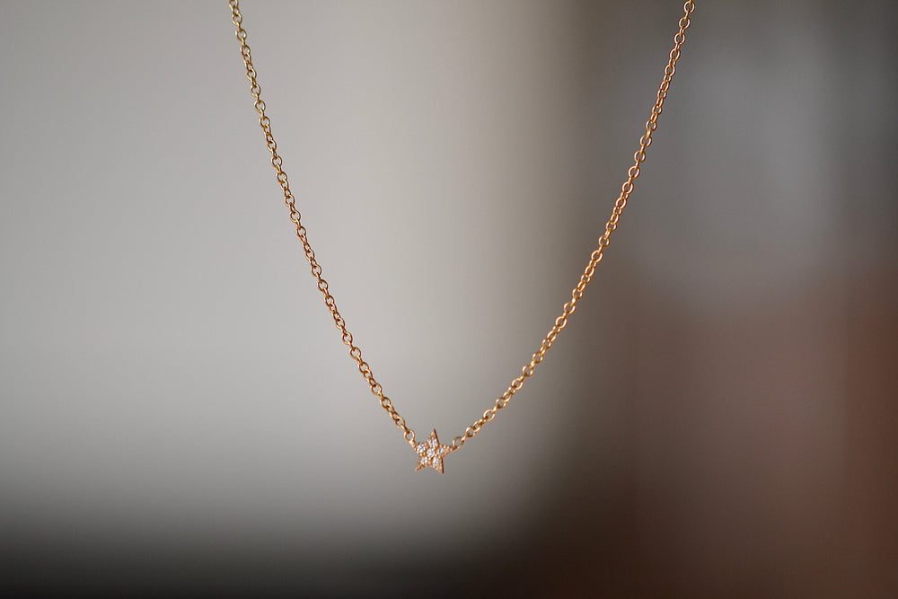 "Zoe Chicco 14k Itty Bitty Star Pave Diamond Necklace with 6 six white diamonds on a 16"" cable chain in recycled gold"