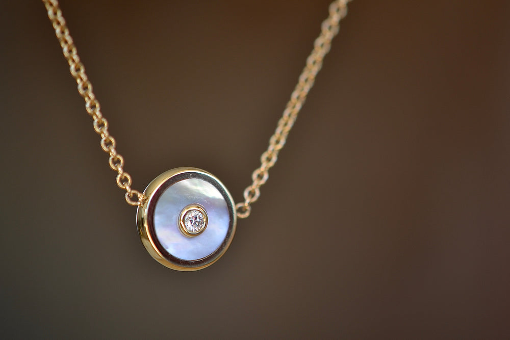 "Retrouvai Mini Compass Pendant White Mother of Pearl white Diamond accent 14k yellow gold 16"" chain"