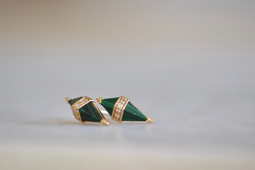 Sorellina Pietra Studs Green Malachite 18k yellow gold four 4 white diamonds post closure
