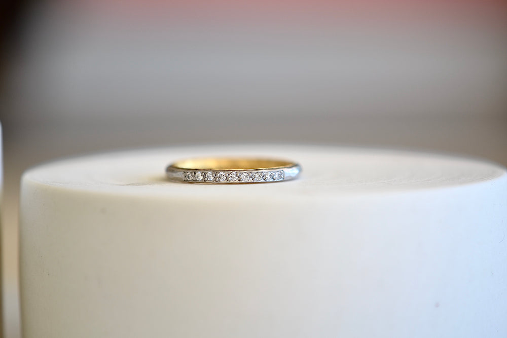 Thin Dual Metal Band with Diamonds