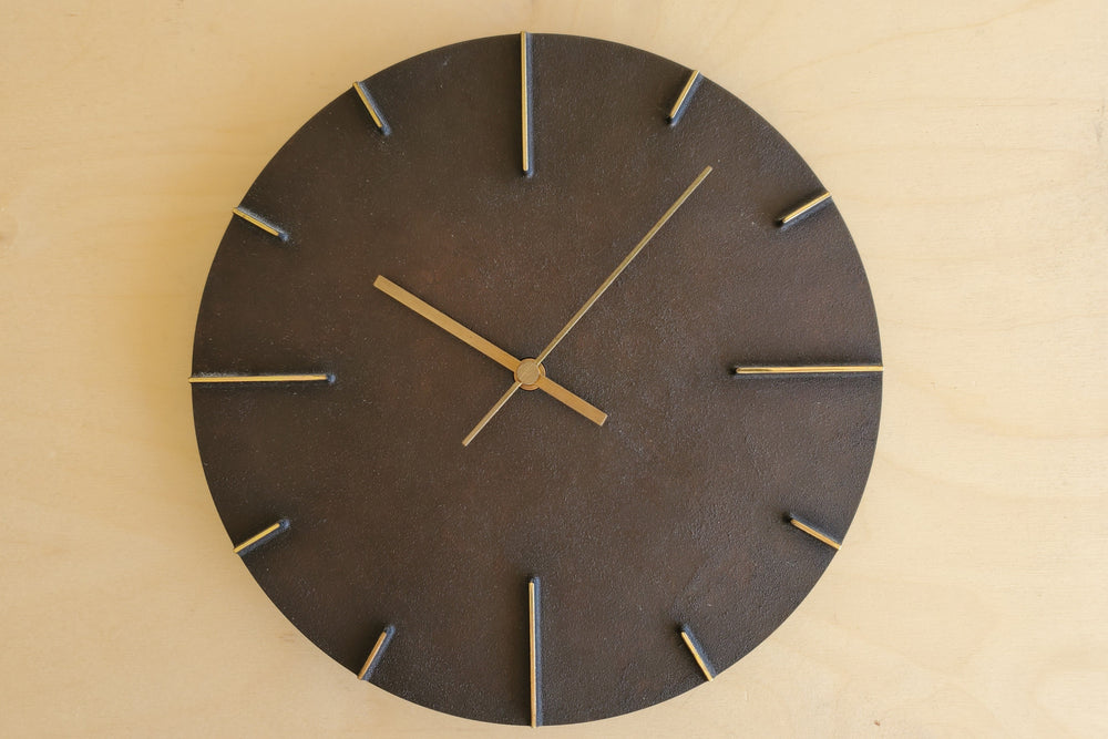 "Japanese Cast Brass Clock ""Quaint"" Patina Finish"