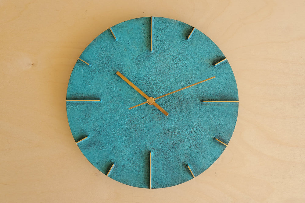 "Japanese Cast Brass Clock ""Quaint"" Verdigris Finish"