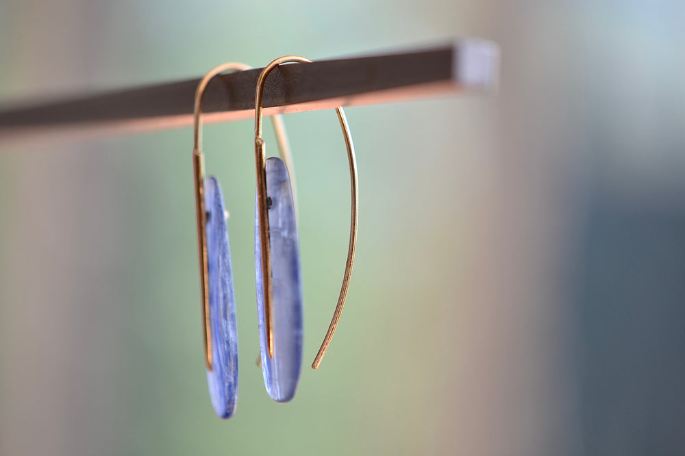 Rachel Atherley Medium Small Kyanite Feather Earrings 18k yellow gold needle ear wire opaque
