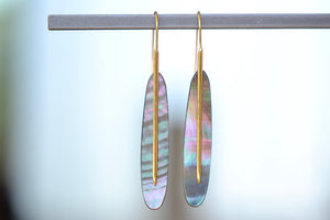 Load image into Gallery viewer, Rachel Atherley Large Mother of Pearl Feather Earrings 18k yellow gold needle ear wire