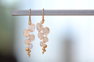 Load image into Gallery viewer, Rachel Atherley Small Caviar Earrings in Rainbow Moonstone 14k yellow gold drop earrings
