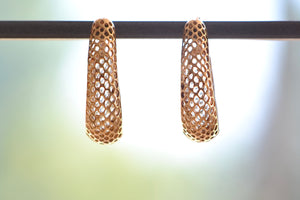 Rachel Atherley Small Round Snakeskin Hoops 14k yellow gold earrings