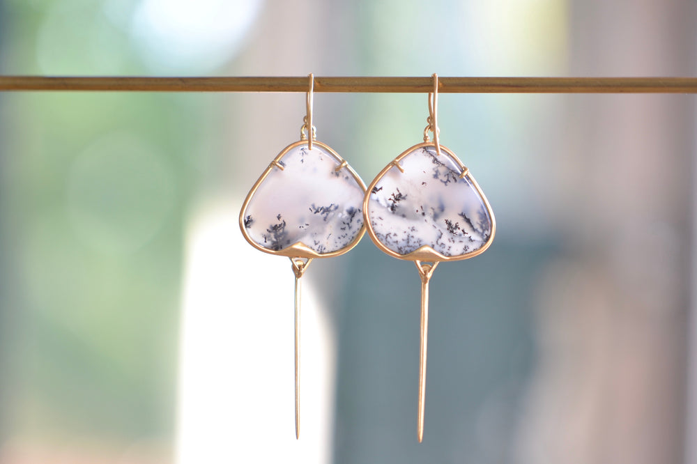 Load image into Gallery viewer, Rachel Atherley Dendritic Opal Stingray Earrings 14k yellow gold ear wire