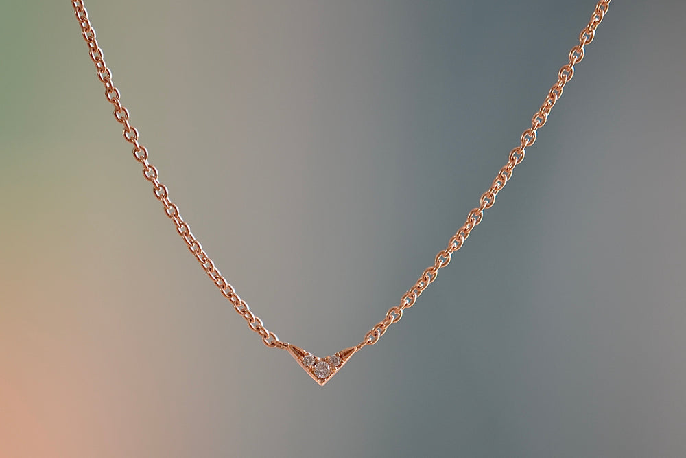 Load image into Gallery viewer, Lizzie Mandler Tiny V necklace pavé white diamonds three 3 18k rose gold chain