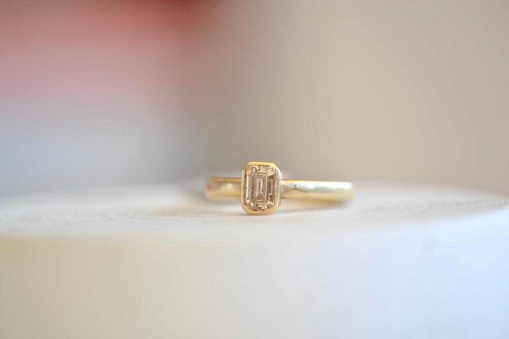 Rebecca Overmann Champagne Diamond Emerald Cut Ring 14k Yellow Gold