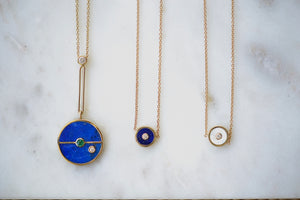 "Retrouvai Mini Compass Pendant White  Mother of Pearl and Lapis  white Diamond accent 14k yellow gold 16"" chain and Large Signature  Compass Pendant lapis emerald"