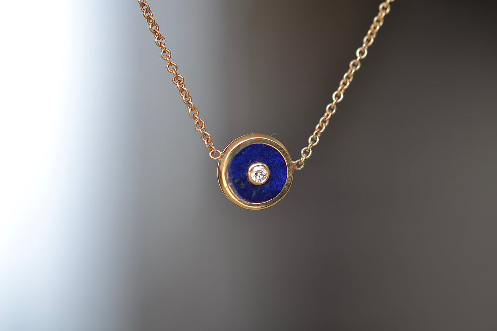 "Load image into Gallery viewer, Retrouvai Mini Compass Pendant Lapis white Diamond accent 14k yellow gold 16"" chain"