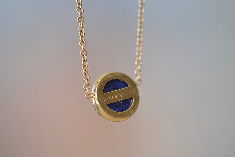 "Load image into Gallery viewer, Retrouvai Mini Compass Pendant Blue Lapis white Diamond accent 14k yellow gold 16"" chain"