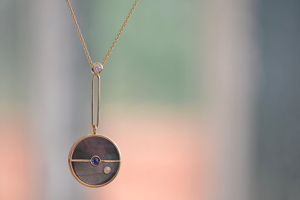 Retrouvai Signature Compass Pendant  Dark Mother of Pearl Blue sapphire 14k yellow polished gold Diamond necklace