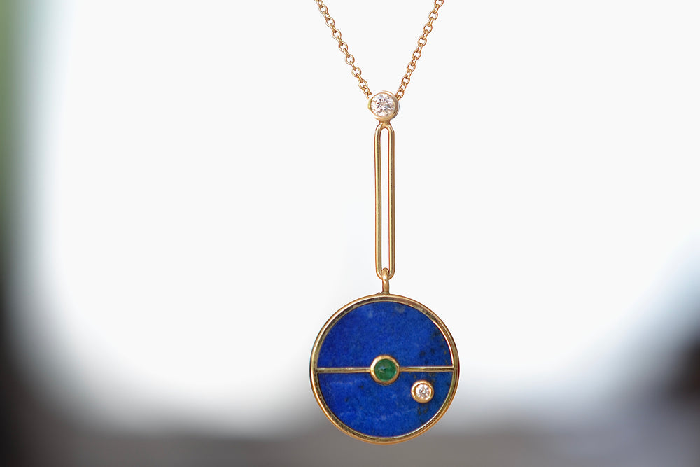 Retrouvai Signature Compass Pendant Lapis green emerald 14k yellow polished gold Diamond