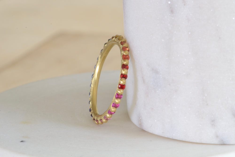 Polly Wales Rita Rapunzel Ring  18k yellow recycled gold  blue lilac green red orange pink sapphires size 6.5