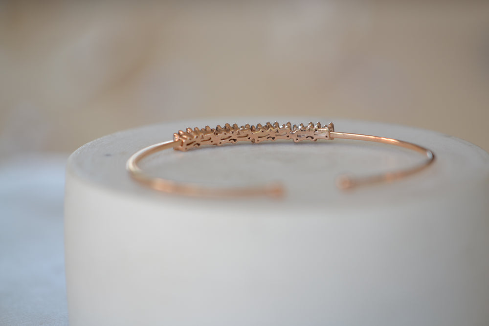 Suzanne Kalan 18k Rose Gold Diamond Baguette Bangle
