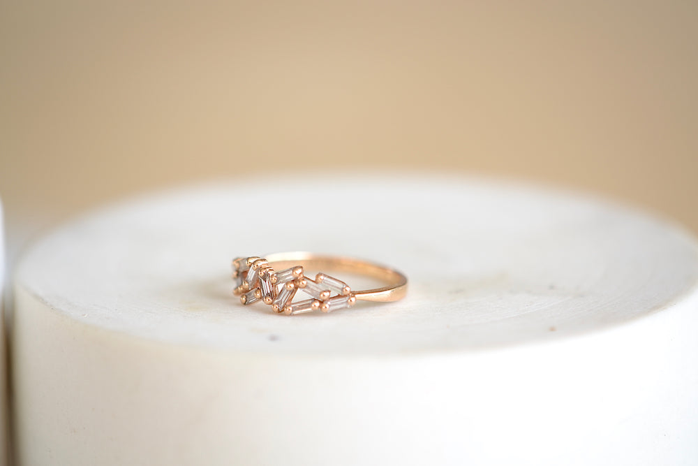 Baguette Rose Gold Cluster Band
