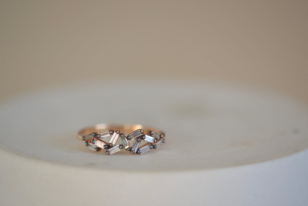 Suzanne Kalan Rose Gold Baguette Cluster Band Rhodium Prongs Chevron