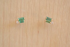 Suzanne Kalan Double Green Emerald Baguette with Diamond Stud Studs Earrings