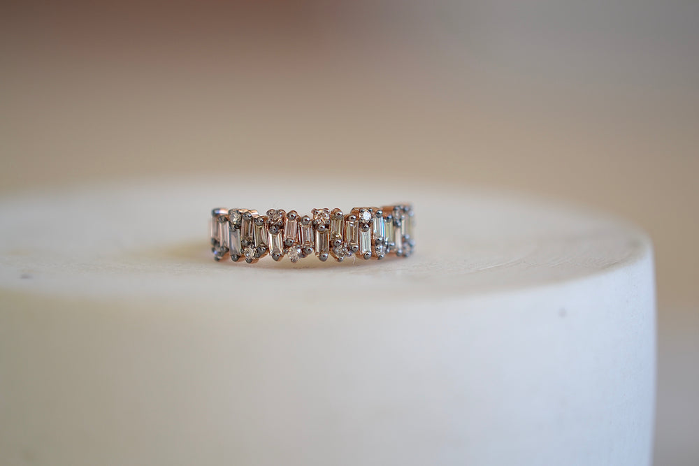 Firework with Rounds Half Eternity Band