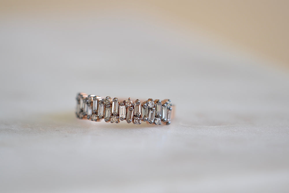 Suzanne Kalan Firework with rounds Half Eternity Band vertical baguette diamonds round  18k rose gold tapered band staggered diamond half band Shimmer Collection