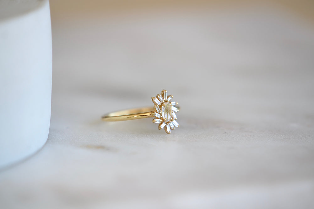 Suzanne Kalan 18k Yellow Gold Marquise Diamond ring with  Baguette Fireworks